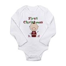 Baby Girl First Christmas Long Sleeve Infant Bodys