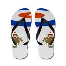 Sock Monkey Olympic Curling Flip Flops