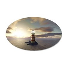 Lighthouse at Sunrise 38.5 x 24.5 Oval Wall Peel