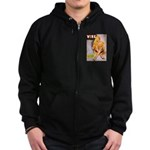 Wink Cross-Legged Blonde Girl Zip Hoodie (dark)