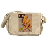 Wink Cross-Legged Blonde Girl Messenger Bag