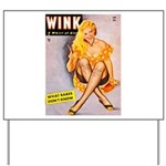 Wink Cross-Legged Blonde Girl Yard Sign