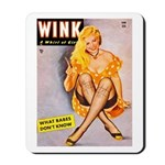 Wink Cross-Legged Blonde Girl Mousepad