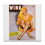Wink Cross-Legged Blonde Girl Tile Coaster