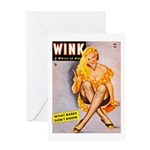 Wink Cross-Legged Blonde Girl Greeting Card