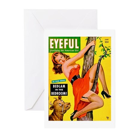 Eyeful Beauty Girl in Tree Cover Greeting Cards (P
