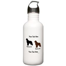 1 Black & 1 Brown Newf Water Bottle