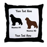 1 Black & 1 Brown Newf Throw Pillow