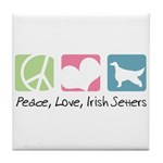 Peace, Love, Irish Setters Tile Coaster