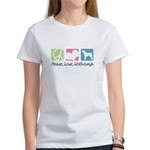 Peace, Love, Wolfhounds Women's T-Shirt