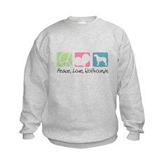 Peace, Love, Wolfhounds Kids Sweatshirt