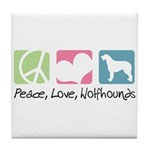 Peace, Love, Wolfhounds Tile Coaster