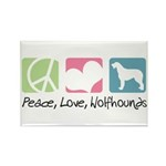 Peace, Love, Wolfhounds Rectangle Magnet (100 pack