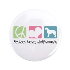 "Peace, Love, Wolfhounds 3.5"" Button (100 pack)"