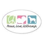 Peace, Love, Wolfhounds Sticker (Oval 10 pk)