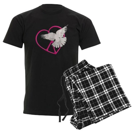 Peace Heart Dove Men's Dark Pajamas
