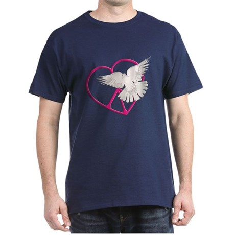 Peace Heart Dove Men's Dark T-Shirt
