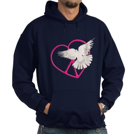 Peace Heart Dove Men's Dark Hoodie