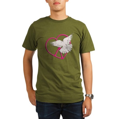 Peace Heart Dove Organic Men's Dark T-Shirt