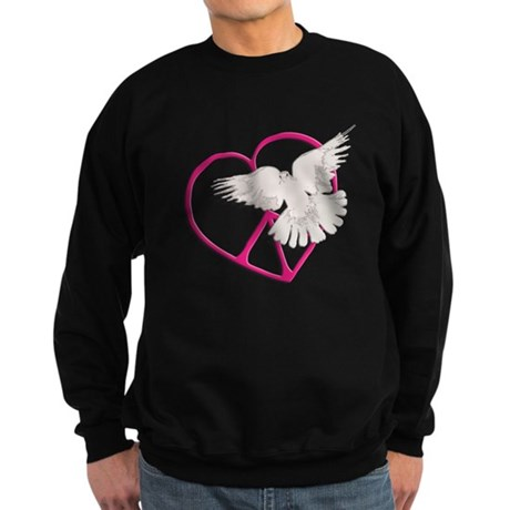 Peace Heart Dove Men's Dark Sweatshirt