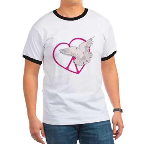 Peace Heart Dove Men's Ringer Tee