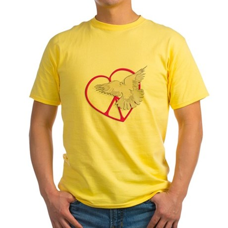 Peace Heart Dove Men's Yellow T-Shirt