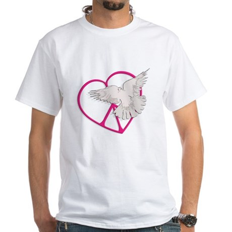 Peace Heart Dove Men's White T-Shirt
