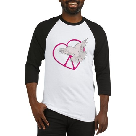 Peace Heart Dove Men's Baseball Jersey