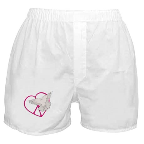 Peace Heart Dove Boxer Shorts