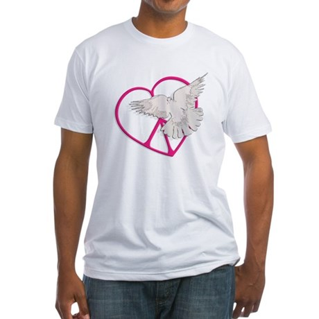 Peace Heart Dove Men's Fitted T-Shirt