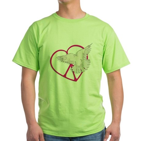 Peace Heart Dove Green T-Shirt