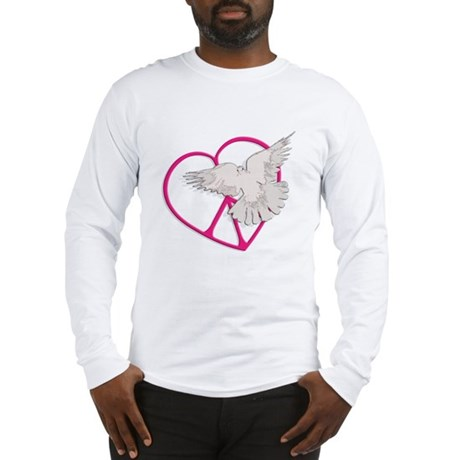 Peace Heart Dove Men's Long Sleeve T-Shirt