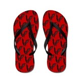 Bats Black on Red Flip Flops