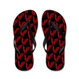 Bats Red on Black Flip Flops