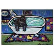 Black Labrador whimsical bath