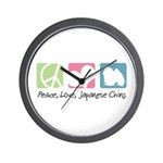 Peace, Love, Japanese Chins Wall Clock