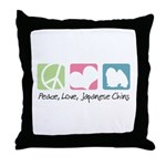 Peace, Love, Japanese Chins Throw Pillow