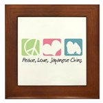 Peace, Love, Japanese Chins Framed Tile