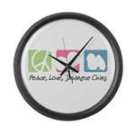 Peace, Love, Japanese Chins Large Wall Clock