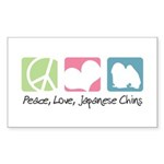 Peace, Love, Japanese Chins Sticker (Rectangle 50