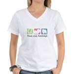Peace, Love, Keeshonds Women's V-Neck T-Shirt