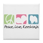 Peace, Love, Keeshonds Tile Coaster