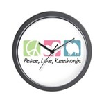 Peace, Love, Keeshonds Wall Clock