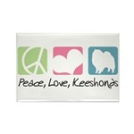 Peace, Love, Keeshonds Rectangle Magnet (10 pack)