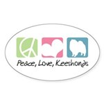 Peace, Love, Keeshonds Sticker (Oval 50 pk)