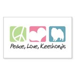 Peace, Love, Keeshonds Sticker (Rectangle 50 pk)