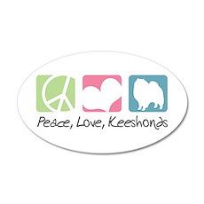 Peace, Love, Keeshonds 38.5 x 24.5 Oval Wall Peel