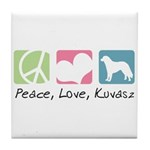 Peace, Love, Kuvasz Tile Coaster