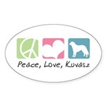 Peace, Love, Kuvasz Sticker (Oval 50 pk)