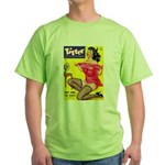 Titter Hot Pin Up Brunette Girl Green T-Shirt